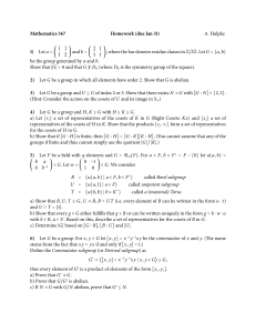 Mathematics 567 Homework (due Jan 31) 1) A. Hulpke