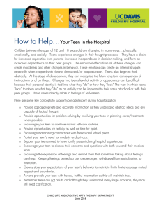 How to Help…  Your Teen in the Hospital