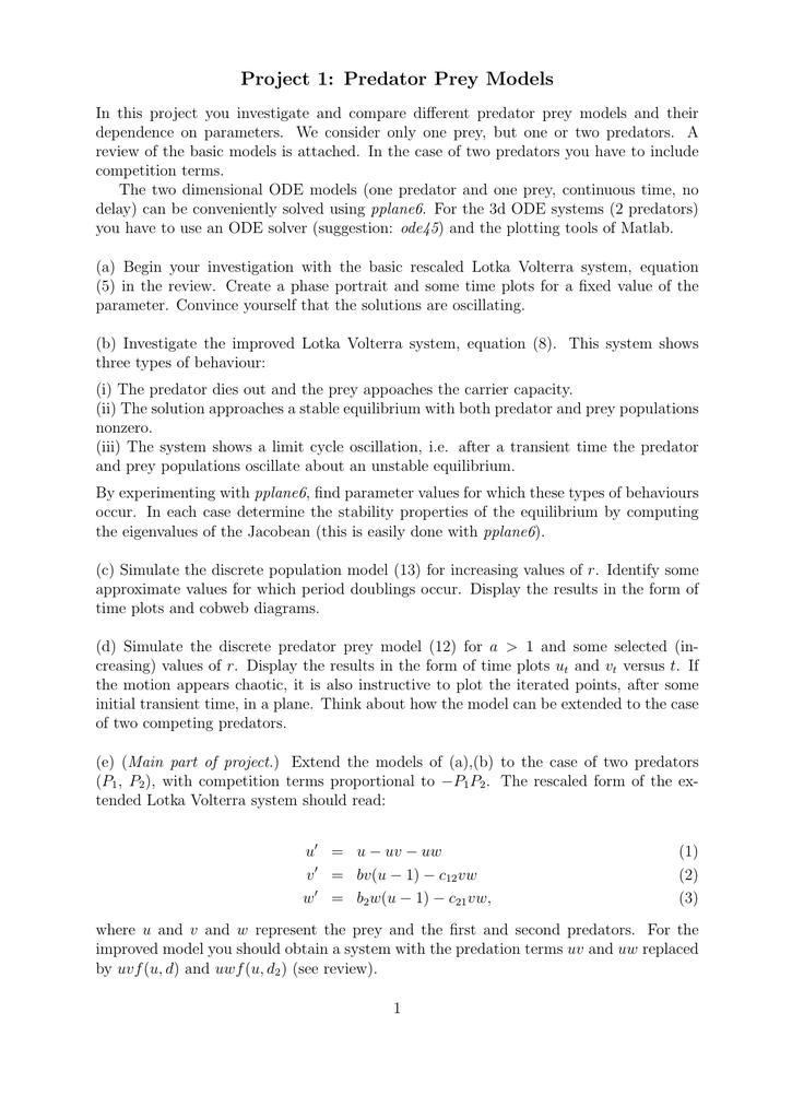 Project 1: Predator Prey Models