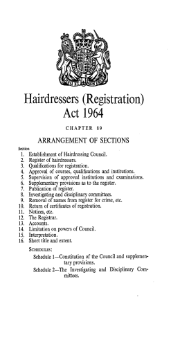 Hairdressers  (Registration) Act 1964 ARRANGEMENT