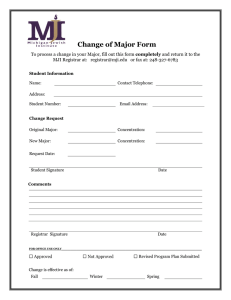 Change of Major Form  completely