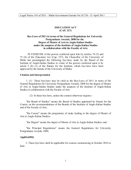 Legal Notice 143 of 2011 - Malta Government Gazette No.18,736 -... EDUCATION ACT (CAP. 327)