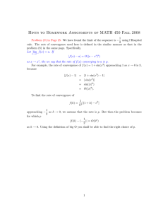 Hints to Homework Assignments of MATH 450 Fall 2008