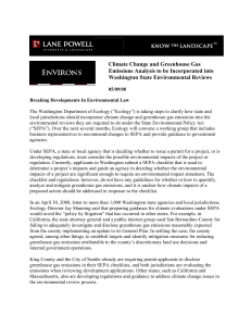 Climate Change and Greenhouse Gas Emissions Analysis to be Incorporated into