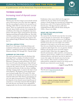 Increasing trend of thyroid cancer THYROID CANCER