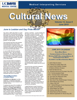 Cultural News Volume 13, Issue 6 June 2015