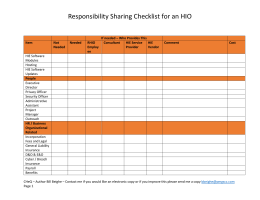 Responsibility Sharing Checklist for an HIO