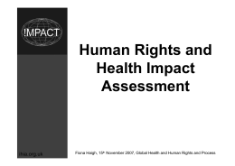 Human Rights and Health Impact Assessment ihia.org.uk