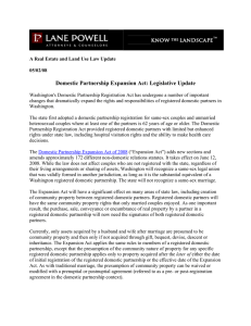 Domestic Partnership Expansion Act: Legislative Update