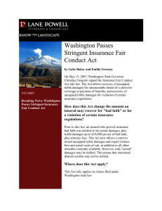 Washington Passes Stringent Insurance Fair Conduct Act