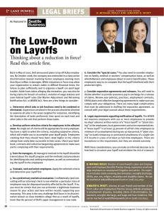 The Low-Down on Layoffs legal briefs Thinking about a reduction in force?