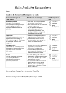 Skills Audit for Researchers  Section 1: Research Management Skills