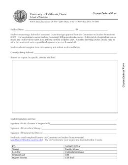 University of California, Davis Course Deferral Form