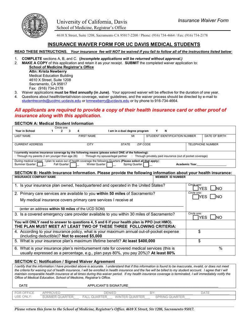 University Of California Davis Insurance Waiver Form