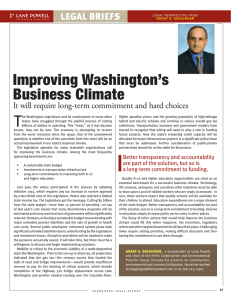 T Improving Washington's Business Climate It will require long-term commitment and hard choices