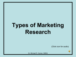 Types of Marketing Research (Click icon for audio) Dr. Michael R. Hyman, NMSU