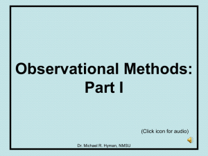 Observational Methods: Part I (Click icon for audio) Dr. Michael R. Hyman, NMSU