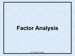 Factor Analysis Dr. Michael R. Hyman