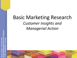 Basic Marketing Research Customer Insights and Managerial Action )