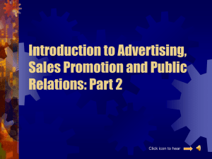 Introduction to Advertising, Sales Promotion and Public Relations: Part 2