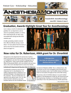 Gradua on, Awards Highlight Great Year for Anesthesiology  June 2013  Volume 4, Issue 2