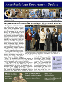 Anesthesiology Department Update  Department makes notable showing at ASA Annual Meeting