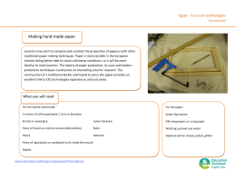 Making hand‐made paper Egypt ‐ Focus on technologies