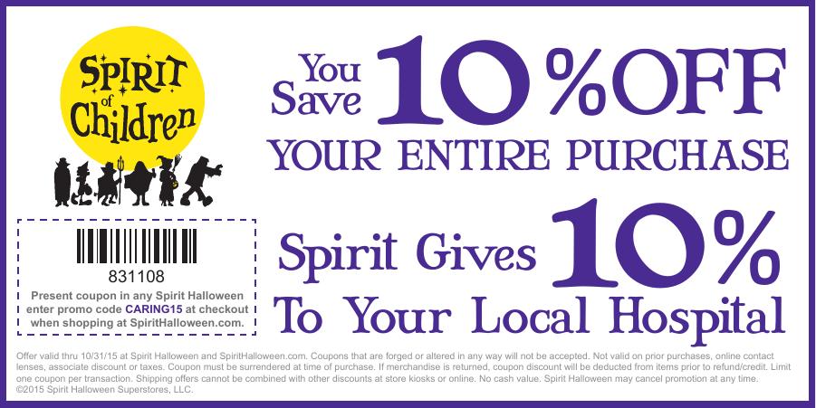photo relating to Spirit Halloween Printable Coupon named 10 % OFF