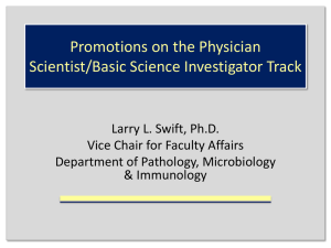 Promotions on the Physician Scientist/Basic Science Investigator Track