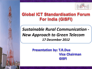 Sustainable Rural Communication - New Approach to Green Telecom 17 December 2012