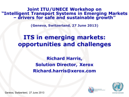 "Joint ITU/UNECE Workshop on ""Intelligent Transport Systems in Emerging Markets"