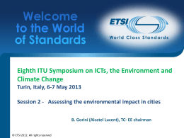 Eighth ITU Symposium on ICTs, the Environment and Climate Change