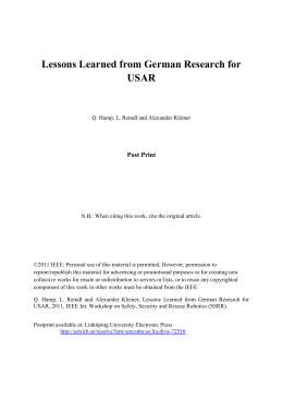 Lessons Learned from German Research for USAR Post Print