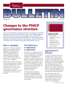 Changes to the PSHCP governance structure Number 20 June 2007