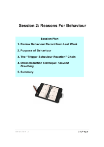 Session 2: Reasons For Behaviour