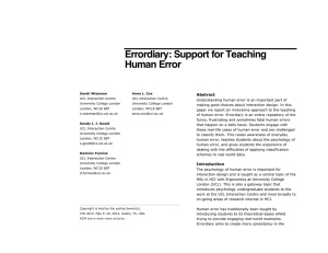 Errordiary: Support for Teaching Human Error Abstract