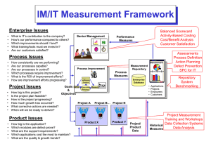 IM/IT Measurement Framework Enterprise Issues Balanced Scorecard Activity-Based Costing