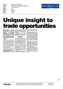 Unique  insight  to trade opportunities Businesses from