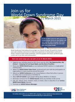 Join us for World Down Syndrome Day 21 March 2015