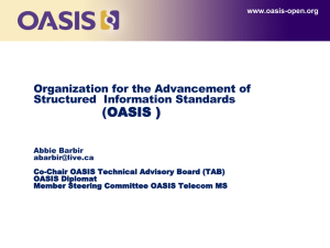 (OASIS ) Organization for the Advancement of Structured  Information Standards
