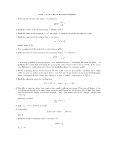 Math 113 Final Exam Practice Problems ln x √