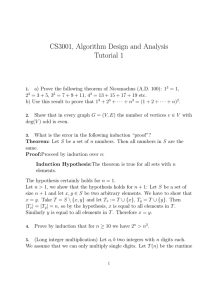 CS3001, Algorithm Design and Analysis Tutorial 1