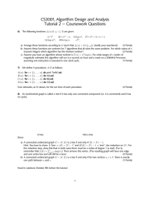 CS3001, Algorithm Design and Analysis Tutorial 2 — Coursework Questions