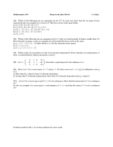 Mathematics 369 Homework (due Feb 8) 12) A. Hulpke