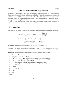 The LLL algorithm and Applications