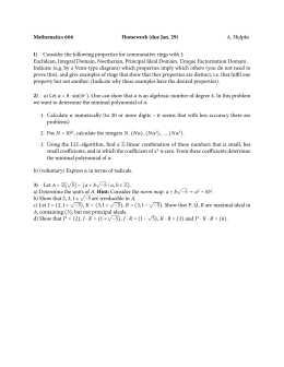 Mathematics 666 Homework (due Jan. 29) 1) A. Hulpke