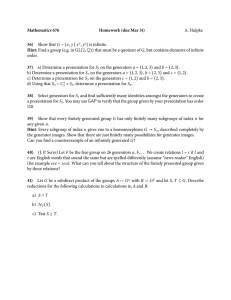 Mathematics 676 Homework (due Mar 31) 36) A. Hulpke