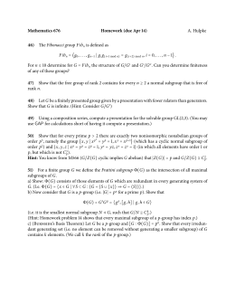 Mathematics 676 Homework (due Apr 14) 46) A. Hulpke