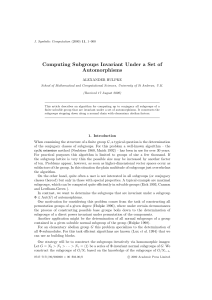 Computing Subgroups Invariant Under a Set of Automorphisms ALEXANDER HULPKE