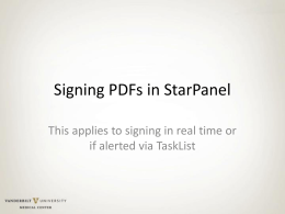 Signing PDFs in StarPanel if alerted via TaskList